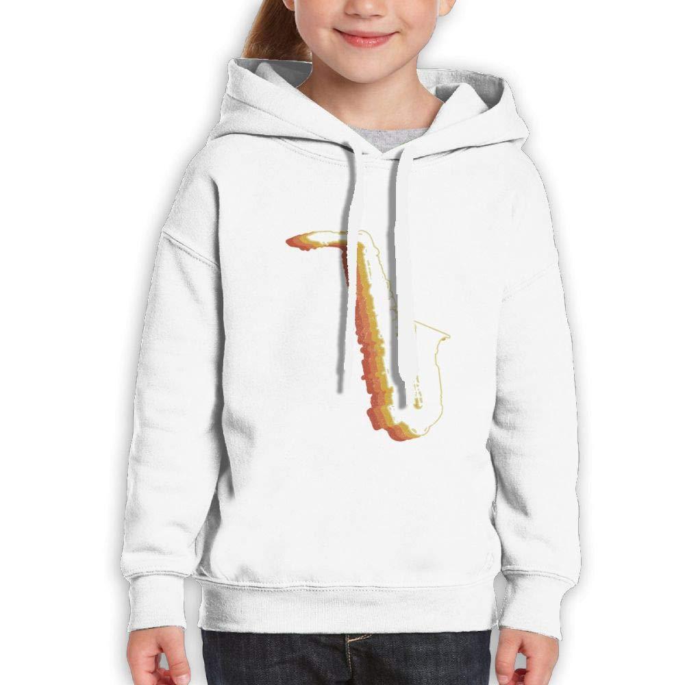 Qiop Nee Retro Saxophonist Ghost Childrens Hoody Print Long Sleeve Sweatshirt for Girl's