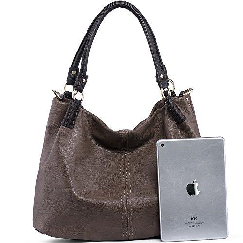 Leather Satchel Fashion Crossbody Double PU Handle women Handbags Shoulder Dark Chestnut Bags for WISHESGEM Purse q4IffRw