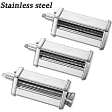 GVODE 3-Piece Pasta Roller and Cutter Set for KitchenAid Stand Mixers,Stainless Steel,mixer accessory