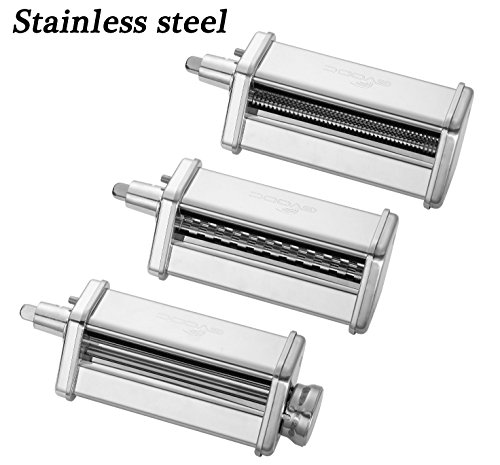 3-Piece Pasta Roller and Cutter Set for KitchenAid Stand Mixers,Stainless Steel,mixer accessory by GVODE - 3 Piece Pasta Set