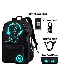 EUATEO Mochila Luminosa Mochilas Escolares con Puerto de Carga USB Mochila Estudiante Unisex Cool Galaxy Bandolera para portátil de Menos de 15.6 Pulgadas (Sky Blue Music Kid) (Negro) …