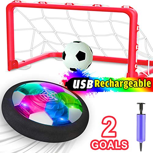 [Upgrade] Kids Soccer Ball Rechargeable,Air Power Soccer Toy with 2 Goals Led Foam Bumper Indoor Hover Soccer Ball Boys Girls Toddlers School Supplies Birthday Gifts,Kids Toys Games Age 2 3 4 5 6 7 8
