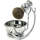 Professional Mens Shaving Stand Razor Brush Stand + Genuine Badger Hair Shaving brush + Perfect Stainless Steel Heavy Shaving Soap Bowl for Double Edge Safety Razor or Multi Blade Razor