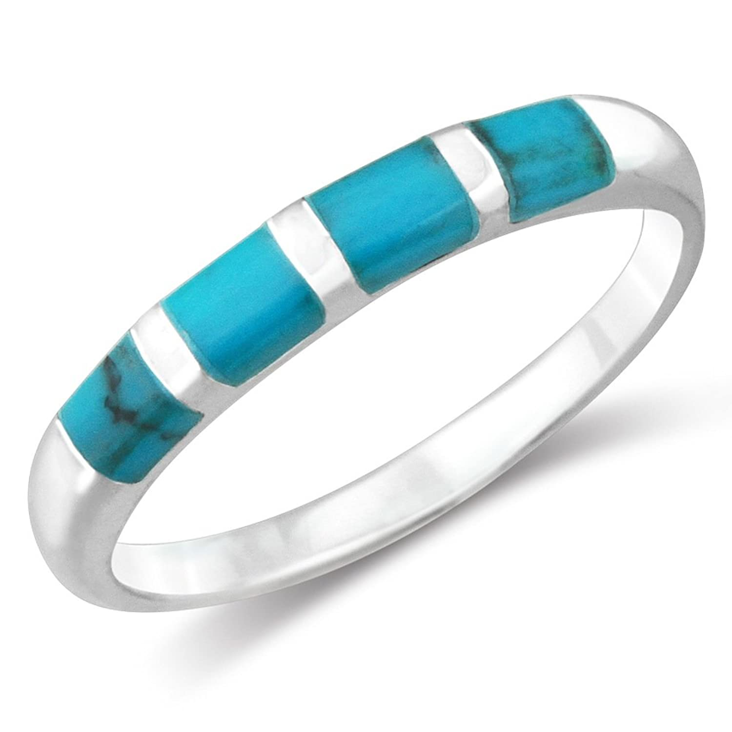 amazoncom 925 sterling silver simulated turquoise channel wedding band ring jewelry - Turquoise Wedding Ring