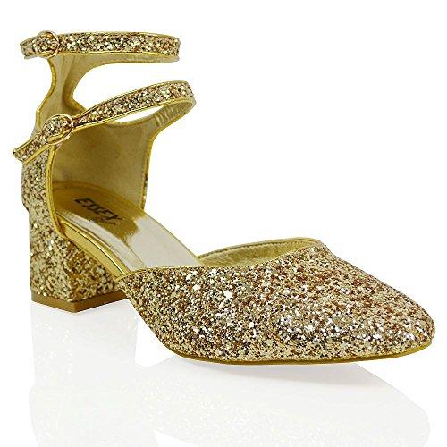 Essex Glam Dames Enkelband Hakken Lage Hak Gesp Party Ronde Neus Rechtbank Gouden Glitter
