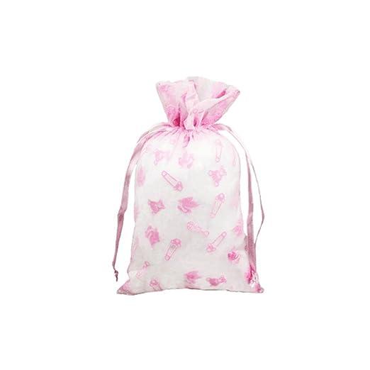 Pequeñas bolsas de Organza de color rosa bebé ducha w/diseño ...
