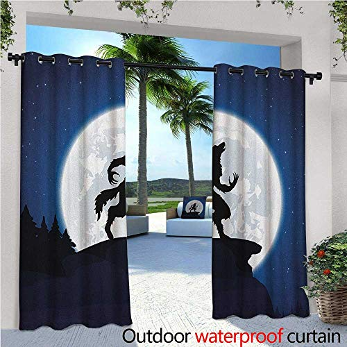 Wolf Outdoor- Free Standing Outdoor Privacy Curtain Full Moon Night Sky Growling Werewolf Mythical Creature in Woods Halloween for Front Porch Covered Patio Gazebo Dock Beach Home W96