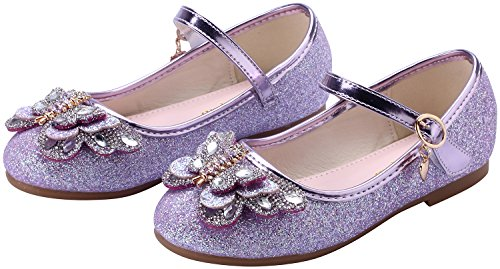 Shoes miaoshop Mary Janes Party Dress Wedding Girls Butterfly Kids Ballerina Flat Crystal Purple Dance nqwCgAXq