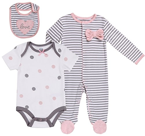 Footed Set (Baby Girls' Layette Sets 3-Piece Footed Long-Sleeve Pajama, Bodysuit and Bib. Size 0-3 Month)