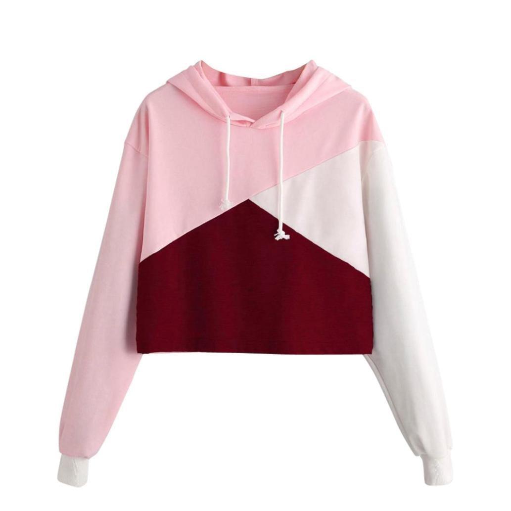 HTHJSCO Womens Girls' Hoodie, Fashion Parttern Long Sleeve Sweatshirt Pullover Blouse Jumper (Pink B, M)