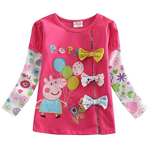 Pure Cotton Long Sleeve Girls Bow Flower Pig Peppa T-shirt - Prices Day Same Delivery Usps