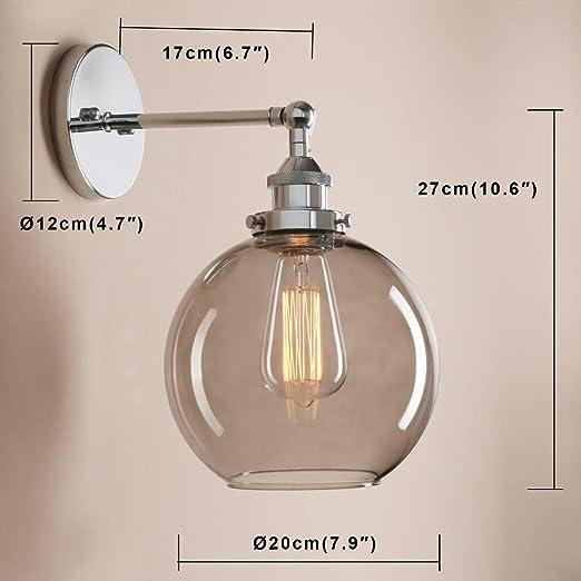 Lampada Da Comodino Argento.Vintage Sfera In Vetro American Country Style Lampada Da Comodino