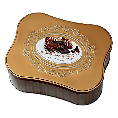 European Chocolate Cookie Tin Assortment of 12 Fine Cookie Varieties with Belgian Chocolate Net Wt 2 Lbs 13.9 OZ OZ (1300 g) ()