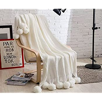 Amazon Homeorganizer Tech 40percent Cotton Cable Knitted Delectable White Pom Pom Throw Blanket