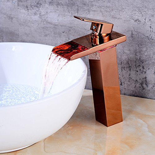 Wovier LED Water Flow Rose Gold Waterfall Bathroom Sink Faucet,Color Changing,Single Handle Single Hole Vessel Lavatory Faucet,Basin Mixer Tap Tall (Gold Vessel Lavatory Spouts)
