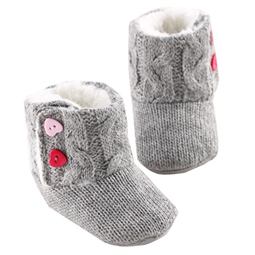 Leewa Hot Sale ! Baby Girls Winter Soft Sole Crib Warm Button Flats Cotton Boot Toddler Prewalker Shoes ( Gray , 6-12 months )