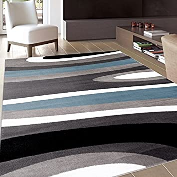 amazon rugshop abstract contemporary modern area rug 9 x 12 blue