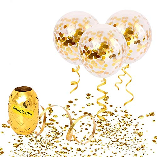 (20pcs Gold Confetti Balloons 12inch with 10m Long String 1cm in Diameter Gold Confetti 20g Perfect for Birthday Party Bridal Baby Shower Engagement Wedding Grad Party Decor)