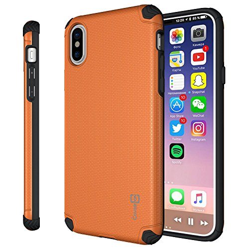 - CoverON Bios Series Fit iPhone Xs Slim Case, iPhone X Case, Minimalist Thin Protective Hard Phone Cover with Embedded Metal Plate for Magnetic Car Mounts Fit Apple iPhone Xs/X / 10S / 10 - Orange