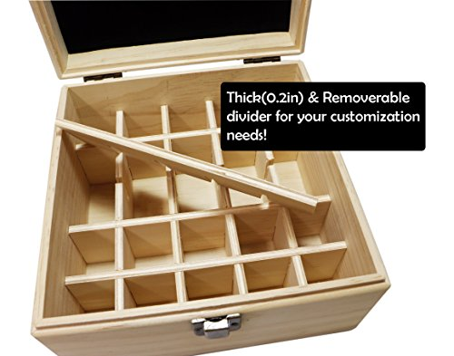 SXC 25 Slot Wooden Essential Oil Box/case, holds 25 5-5ml&10ml Roller Bottles, Perfect Essential Oil Storage/organizer Case For Travel and Presentation by SXC (Image #2)
