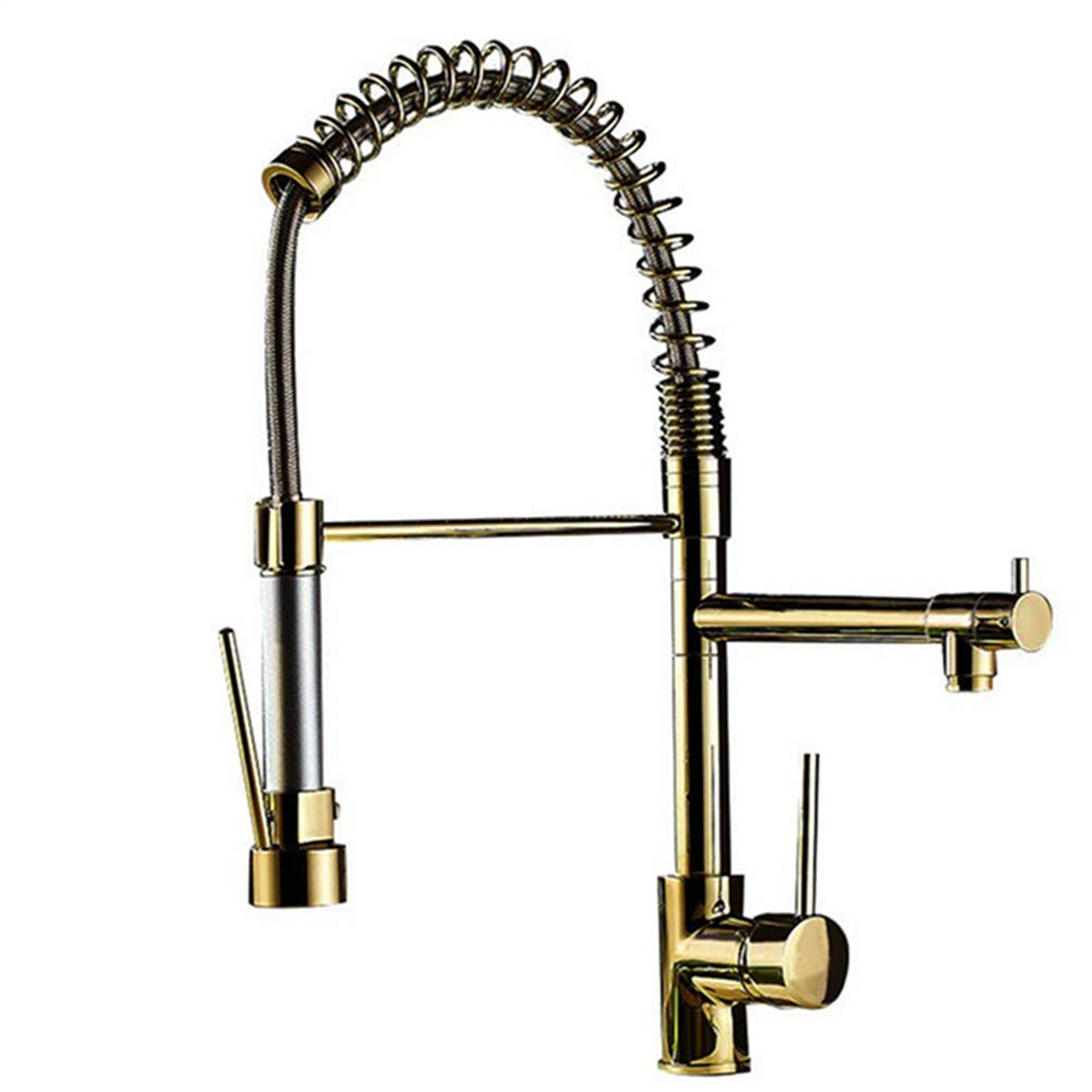 FZHLR Kitchen Faucet Gold Brass Pull Down Kitchen Faucet Sink Mixer Tap Hot Cold Pull Out Spring Spout Unique Design Kitchen Faucet