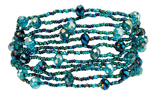 12 Strand Bead and Crystal Bracelet with Magnetic Clasp, Handmade in Guatemala (Blue) (Crystal Jewelry Bead Magnetic)