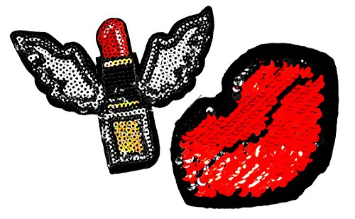 PP Patch Set 2 Lady's Hot Lips Sexy Mouth, Red Lipstick Angel Wings Shine Sequin Patch for Bags Jacket T-Shirt Embroidered Sign Badge -