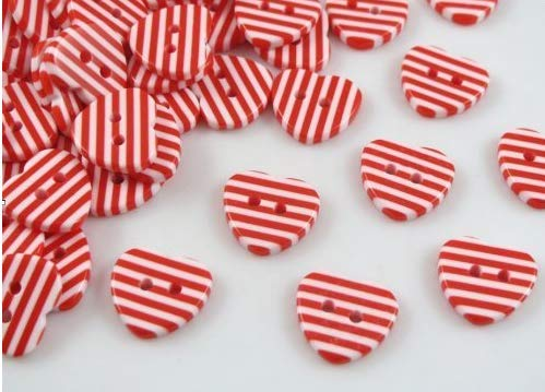 50pc The New Red and White Resin Stripes Heart Button/Sewing ()