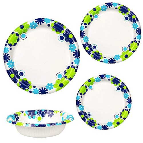 Assorted Floral Paper Plates and Bowls For Everyday Use - 4 pc. Bundle