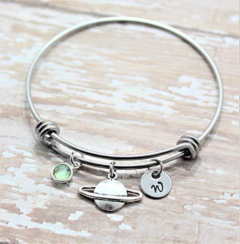 Saturn Bangle Bracelet - Personalized Planet Jewelry for Women & Girls - Custom Initial & Birthstone