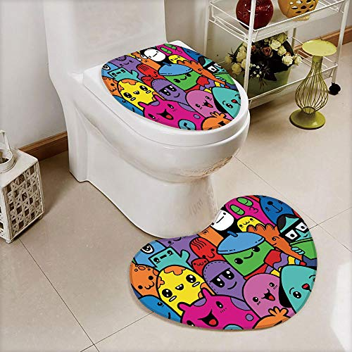 - iPrint 2 pcs Toilet Cover Set Non-Slip mat Bathroom Non-Slip mat,Doodle of Funny Cute Crazy Monster Buddies Group,3D Print Heart Shape Toilet seat Cushion Customized Fashion