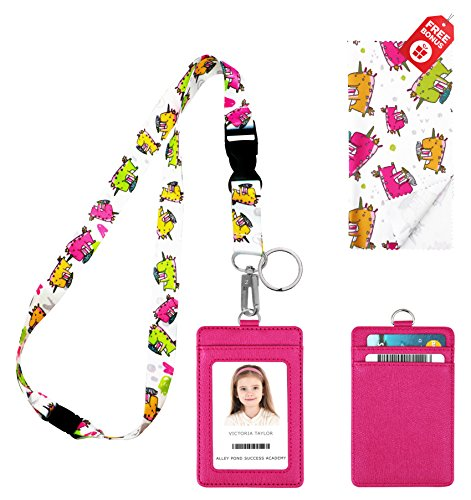 Unicorn Loves Ice Cream Print Lanyard with PU Leather ID Badge Holder with 3 Card Pockets. Safety Breakaway Clip, Key Ring, Mini Note Card & Large Ultra Fine Microfiber Cleaning Cloth.