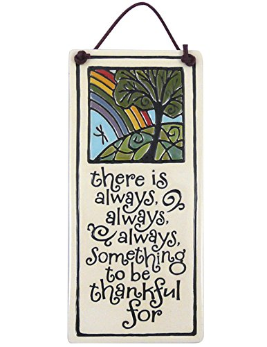 (Modern Artisans Always Something to be Thankful American Handmade Ceramic Quote Plaque, 6-Inches )