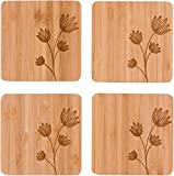 "4"" Square Bamboo Coaster - Set of - 4 by Trademark Innovations (Flower)"
