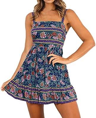 wave166 Vestido,Cortos Mujer Verano, Mini Vestido Boho de ...