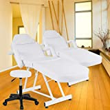 """Giantex Massage Table Facial Bed Chair for Spa with Stool, Adjustable Height Portable 73"""" Salon Massaging Tables for Barber Face Beauty, Updated Facial Beds and Tattoo Chairs, Black/White"""