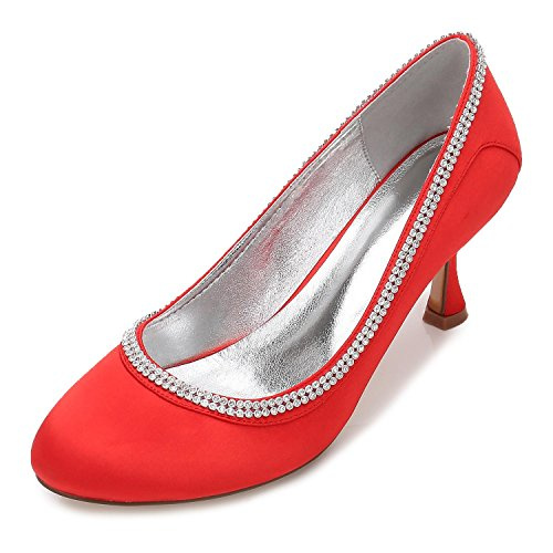 High Rhinestone Court Shoes P Ankle Closed Strap 17061 Bridal Toe Satin Heel YC Wedding L Women Red 40 qFawZIWz