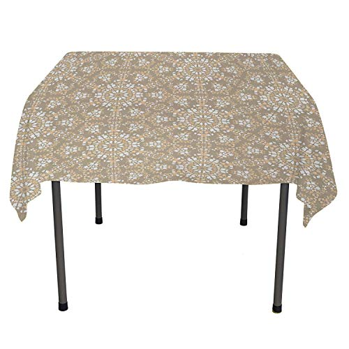 Mosaic Bedside Table Tablecloth Antique Roman Time Inspired Rock Design with Circled Modern Lines Image Print Tan Peach White All Weather Outdoor Table Cloth Spring/Summer/Party/Picnic 60 by 90 (Antique Inspired Nightstand)