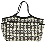 Grey Skull Quilted Fabric Weekender Bag Made in USA
