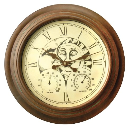 Durocraft W-GA1003 15-Inch Round Wall Mount Clock with Temperature and Humidity Gauges, Decorative Sun/Moon face by Durocraft
