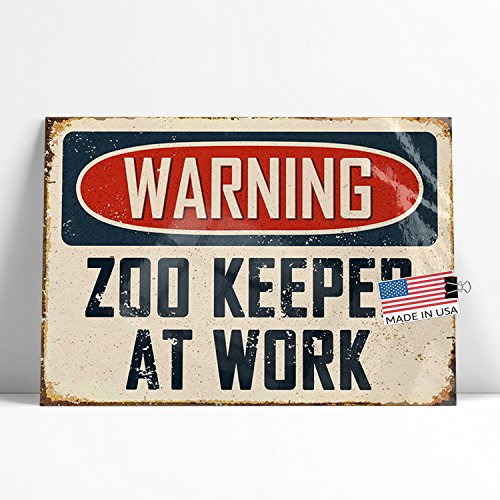 NEONBLOND Large Poster Warning Zoo Keeper At Work Vintage Fun Job Sign Printed in Atlanta by