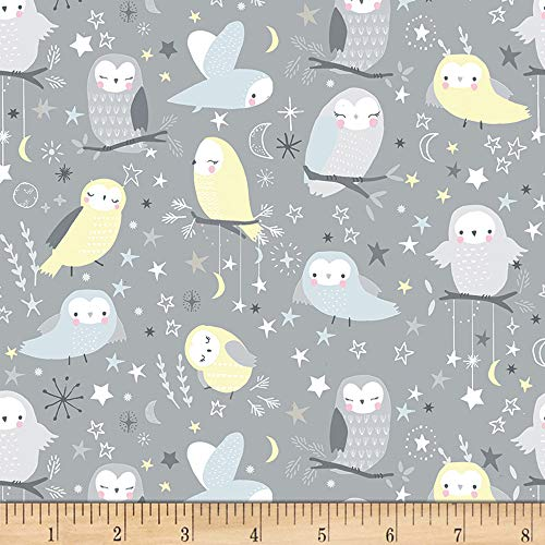 Timeless Treasures Moon & Stars Flannel Whimsical Owls Stone Fabric by The Yard