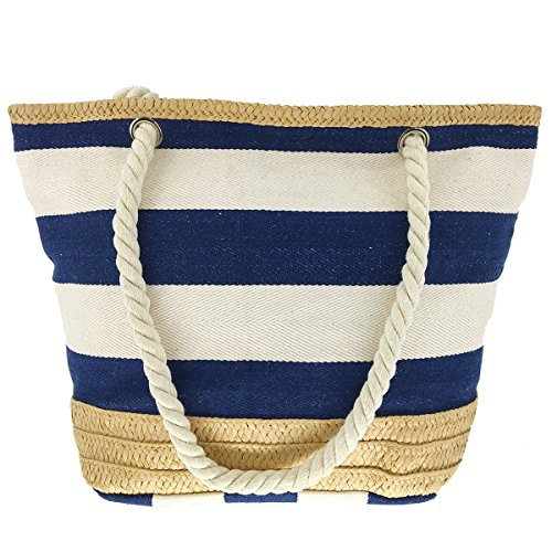 MeliMe X-Large Travel Shoulder Beach Tote Bag with Handmade Woven Straw Binding, Cotton Rope Handles, Waterproof Lining and a pocket inside. (Style (Cotton Woven Bag)