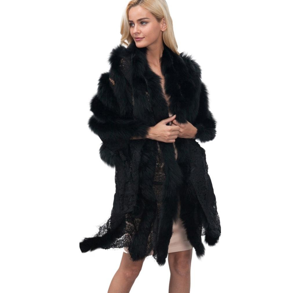 Sunward Women Luxury Bridal Faux Fur Shawl Wraps Cloak Coat Sweater Cape (Black)