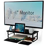Monitor Stand Riser Compatible with 4K Monitors with Tablet Cell Phone Cup Holder Height Adjustable Black Large Size 24 x 12 Inches