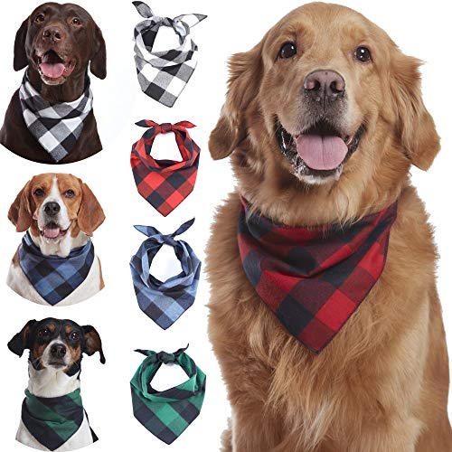Odi Style Buffalo Plaid Dog Bandana 4 Pack – Cotton Bandanas Handkerchiefs Scarfs Triangle Bibs Accessories for Small Medium Large Dogs Puppies Pets, Black and White, Red, Green, Blue and Navy Blue