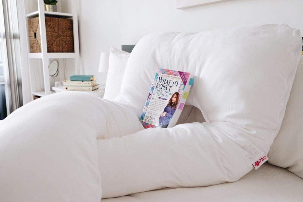 Gray- Velvet Meiz U Shaped Pregnancy Body Pillow with Zipper Removable Cover