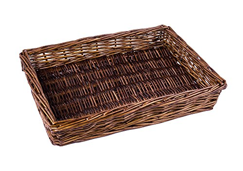 Natural White Willow Snack Basket/ File Tray Organizer in Dark Caramel Brown - 11.5 Inches