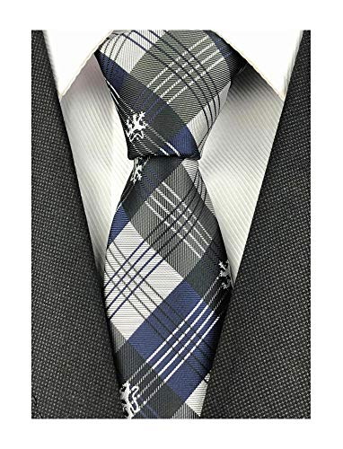 Mens Navy Blue Grey Check Cravat Ties Tuxedo Narrow Width for Gifts Teal Neck Ties for Him