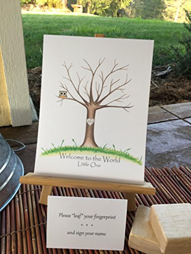 Customizable fingerprint tree featuring a tan owl in a brown oak tree in the green grass--perfect for an owl-themed baby shower, Personalized for you, baby shower guestbook (Tree Oak Tan)
